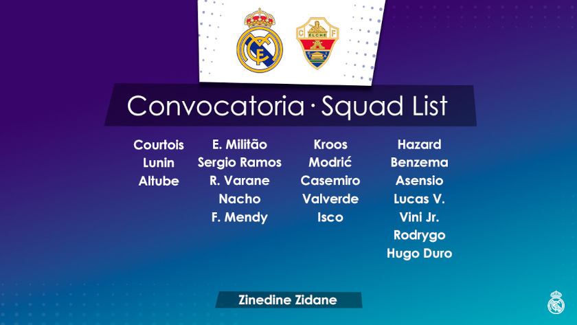 Real Madrid - Elche beharangozó keret