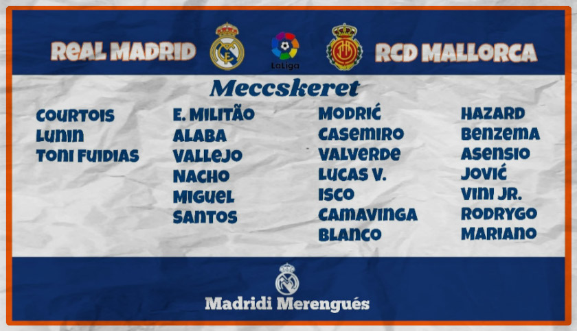 Real Madrid - Mallorca beharangozó keret